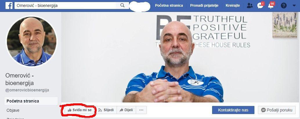 Na Facebook stranici Omerović - bioenergija kliknite na [Sviđa mi se]